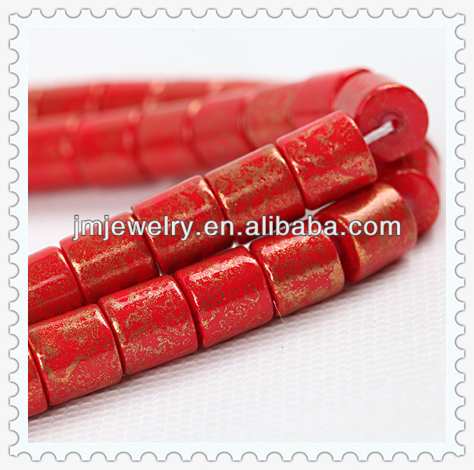 wholesale red gold patterned color square tube glass beads for jewelry making