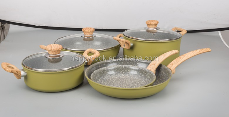 high quality aluminium marble ceramic five star cookware