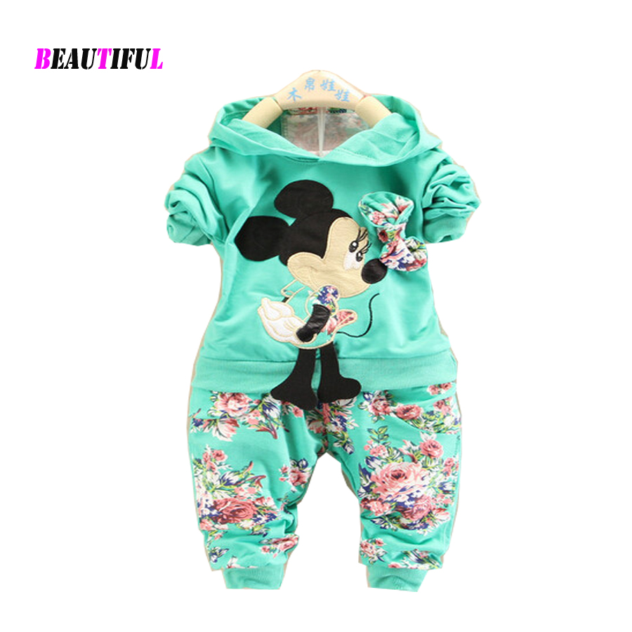 New 2016 Baby Girls Clothes Girl Clothing Sets Long Sleeve Minnie 7 24 Month Kids Coat