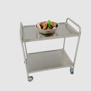2 tier stainless steel hotel restaurant mobile food service trolley cart with 4 wheels
