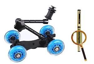 Blueskysea Free Gift Gel Pen + Blue DSLR Skater Wheel Camera Truck Top Dolly Kit+11 inch Articulating Magic Arm