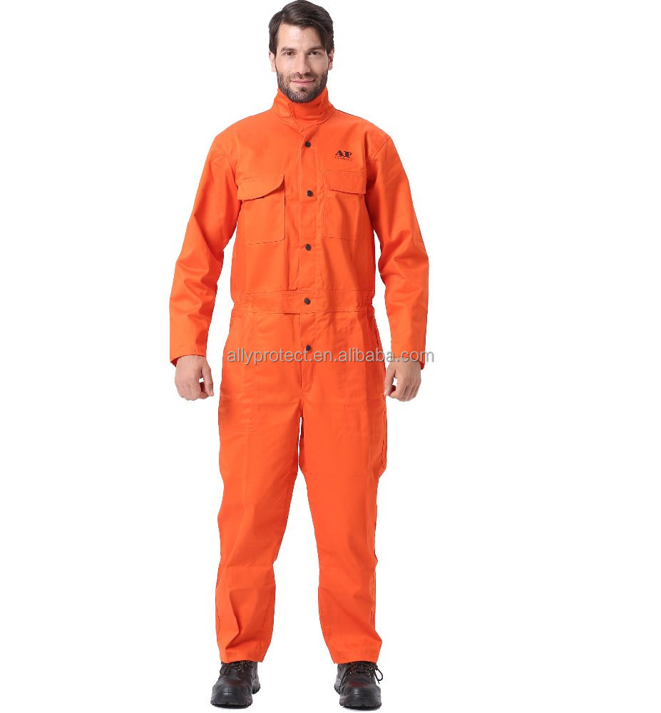 AP-8300 <strong>Orange</strong> washable flame retardant coverall and fire resistant overall uniform in proban garment
