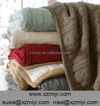 Wholesale cable knit throw blanket, blankets bedspreads ,hotel bed ...