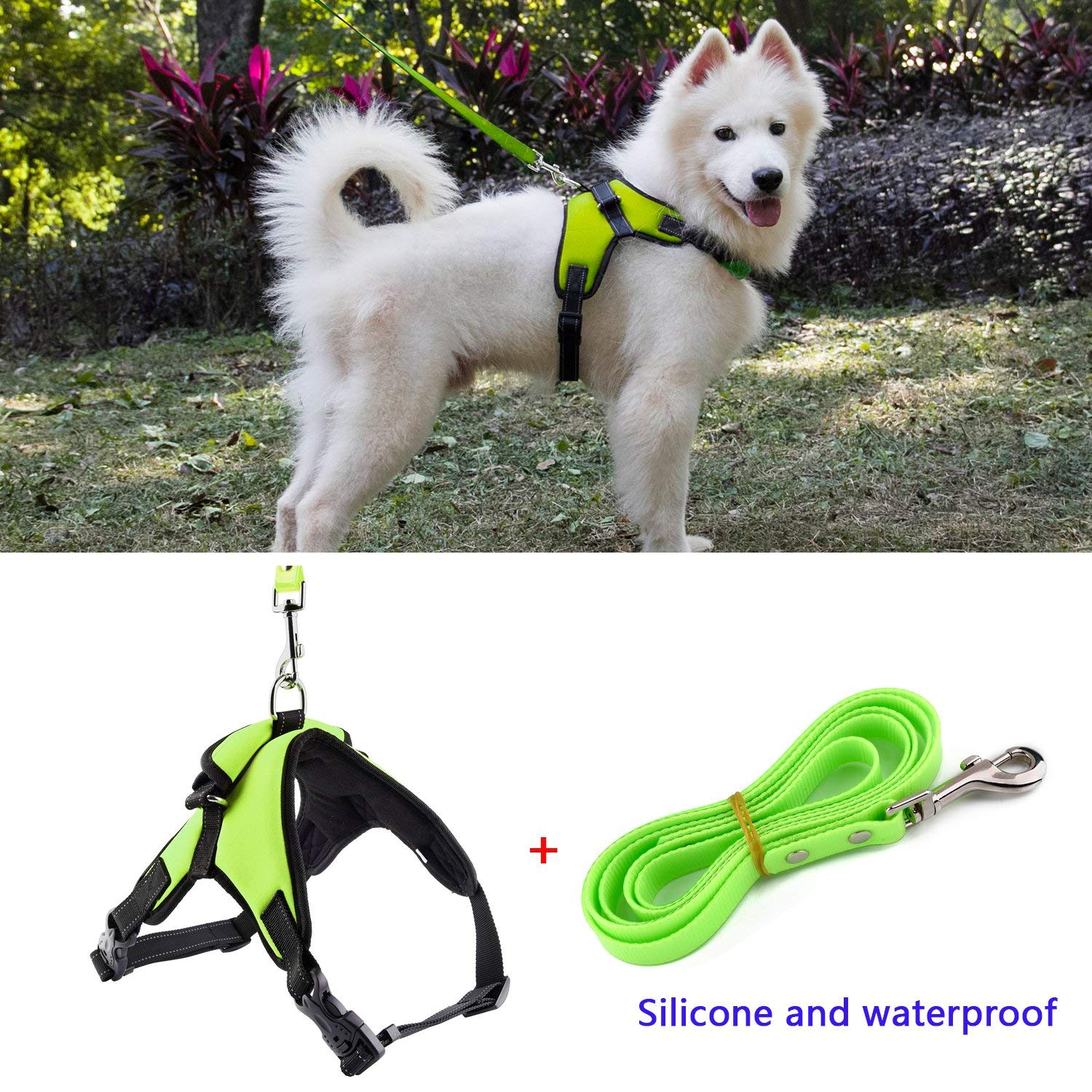 kiwitatá No Pull Dog Harness Waterproof Silicone Dog Leash,Soft Adjustable Diving Material Padded Pet Vest Harness Handle Small Medium Large Dogs