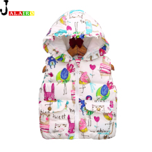 2016 Kids Vest Winter Outerwear&Coats Animal Graffiti Thick Princess Girls Vest Hooded Kids Jackets Baby Girl Warm Waistcoat