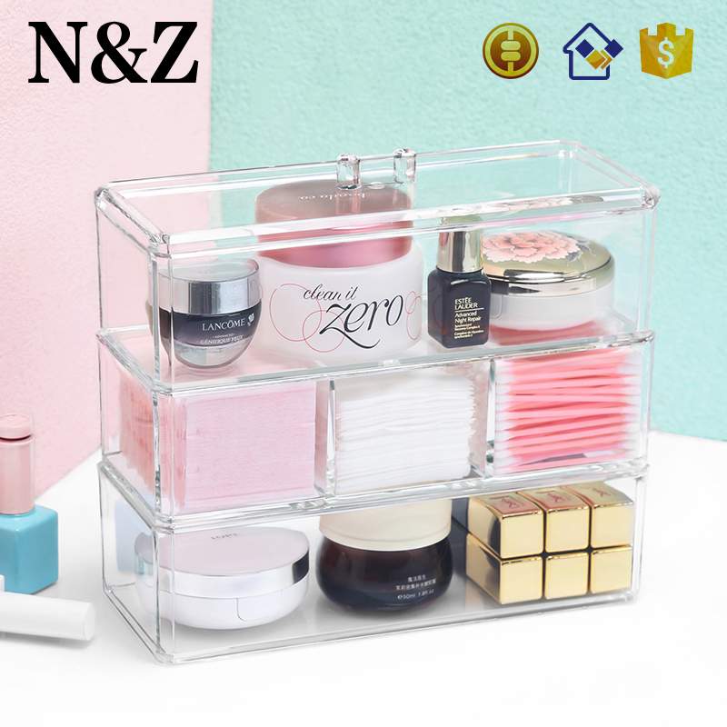 NZ C136 Factory Supplier <strong>Retail</strong> Cosmetics Storage 3 Tier Plastic Makeup Organizer with Lid
