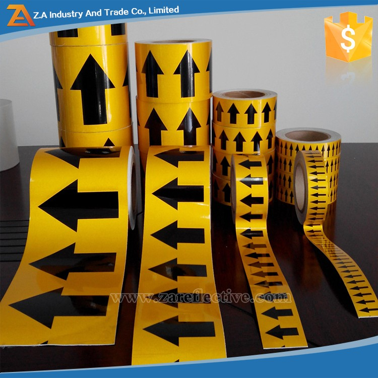 Self-Adhesive Rubber Arrow Road Sign Laser Reflective Tape For Marking