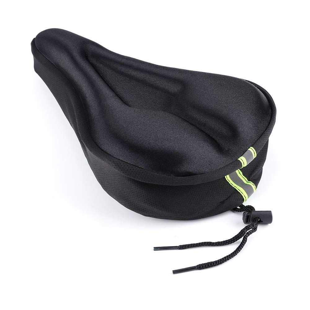 Akuer Gel Bike Seat Cover, Soft Padded Bicycle Saddle Cushion Cover for Women Men, Exercise, Cycling, Mountain, Cruiser, Stationary Bicycles