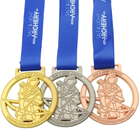 Custom Your Own Design Honor Metal Gold Sport Medallion Medal With Honor Colorful Red Ribbon