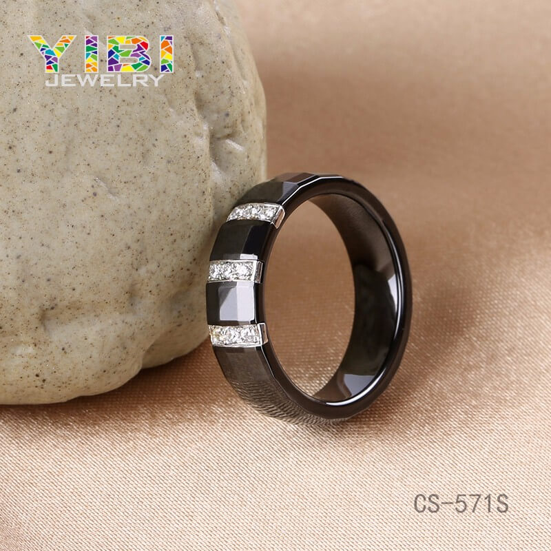 OEM Jewelry Factory The Latest Design CZ Inlaid Ceramic 925 Silver Mens  Engagement and Wedding Ring