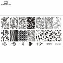 Bp-l026 tema folha Nail Art Stamp Template imagem placa Rctangular carimbar placas nascidos bastante BP-L026 12 x 6 cm