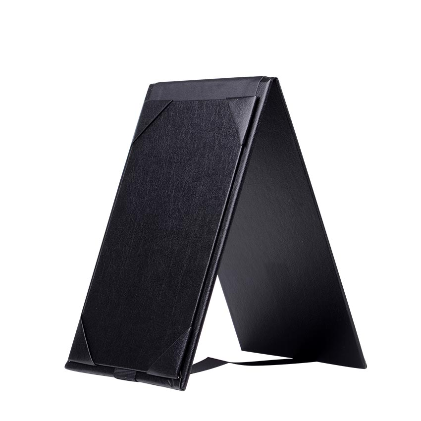 High Quality Table Black Leather Restaurant Menu Holder Cover Double Sided Table Tent Triangle menu clip for Specials or Drinks