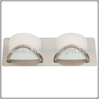 UL CUL Listed Transitional Satin Nickel With Half Opal Glass 2 Light Vanity Wall Sconce W81195