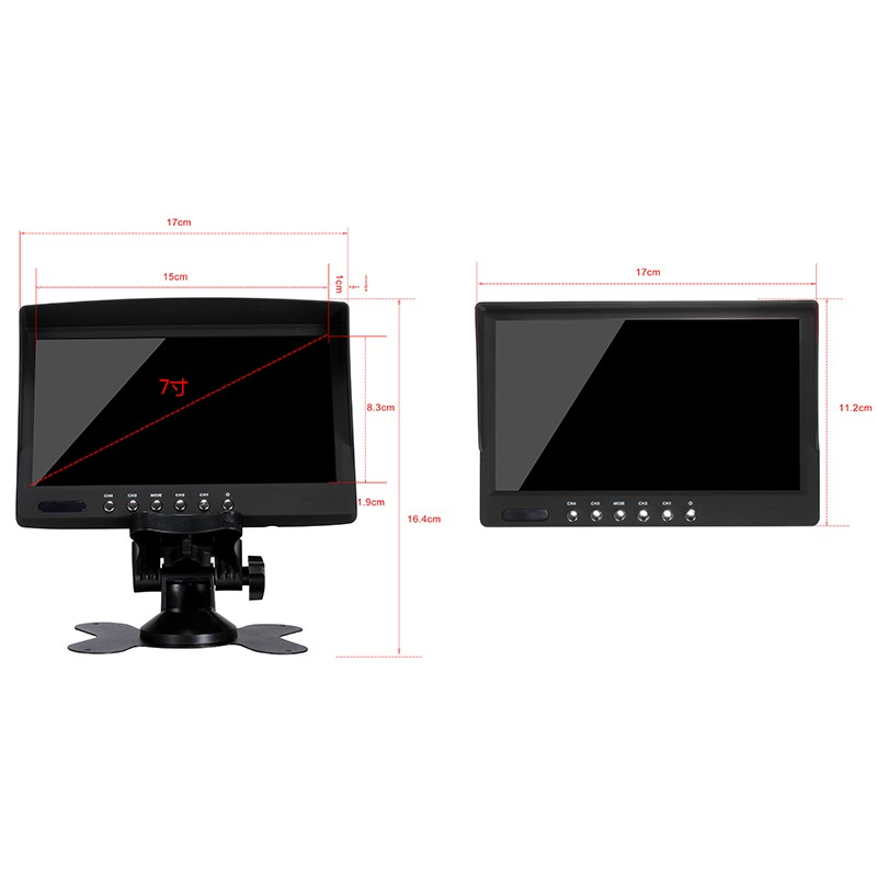 Mini size 7 inch TFT LCD monitor for car tv