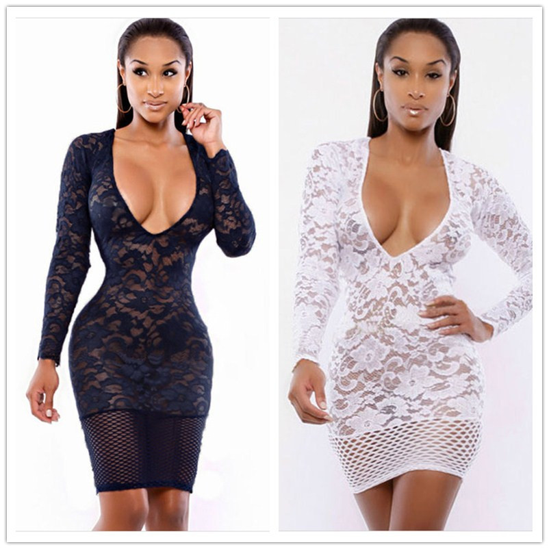 6cb00c36f7 Buy 2015 Fashion Sexy Low-Cut Women Dress Bodycon Empire Night Party Dress  Lace Transparent Sheer Sexy Club Dress in Cheap Price on m.alibaba.com