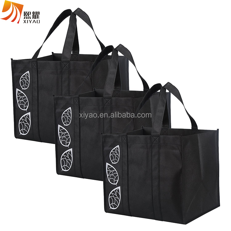 Heavy Duty Large Collapsible Shopping Bags Set, Black Reusable Reinforced Grocery Tote Bag
