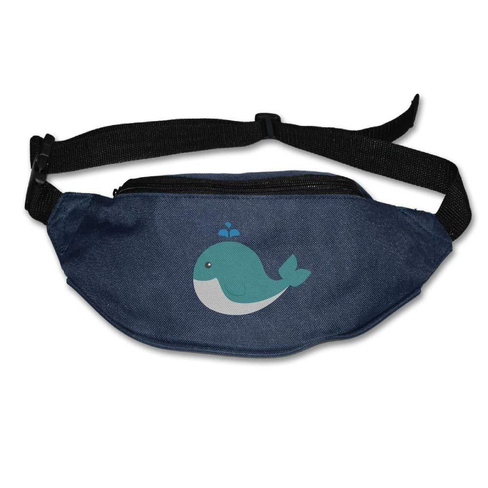Teesofun Unisex Waist Purse Cute Whale Funny Art Fanny Pack Waist/Bum Bag Adjustable Belt Money Holder Running Sport Waist Bag