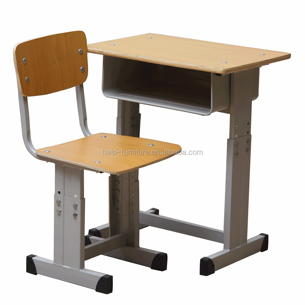 Adjustable single student desk and chair