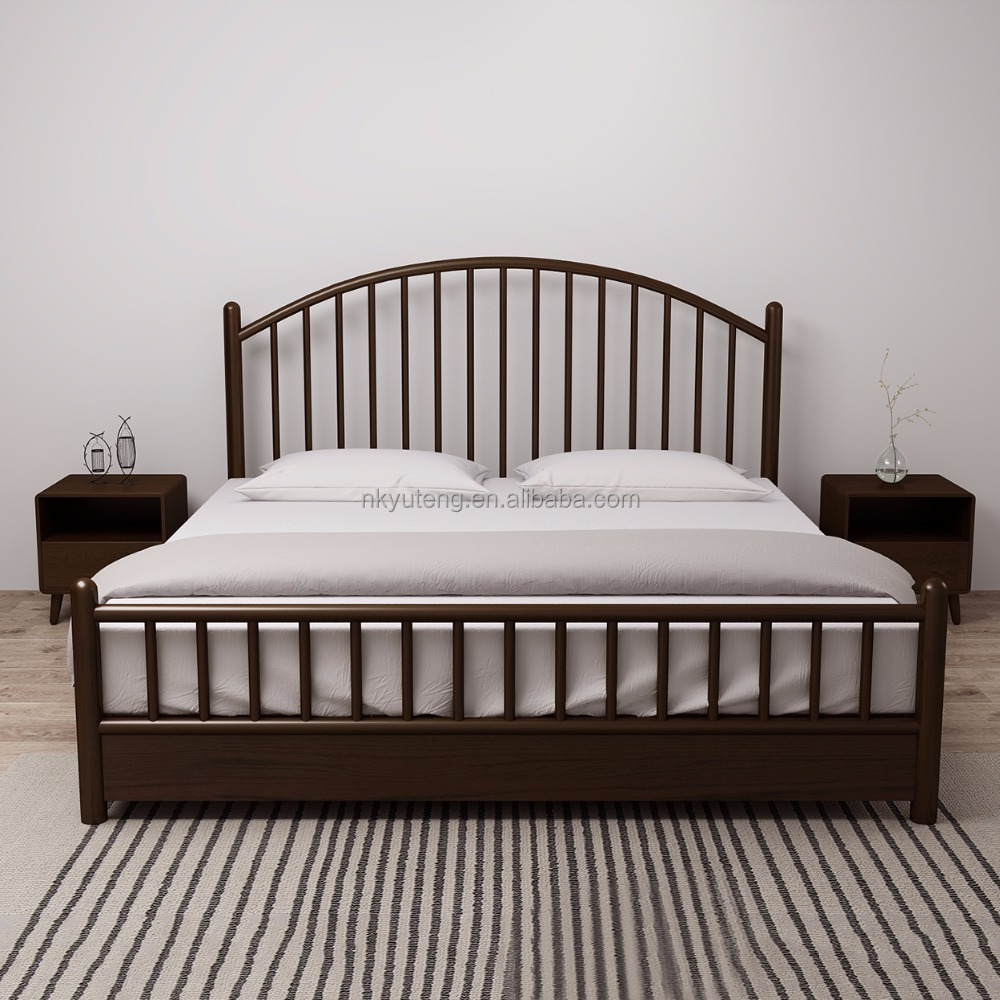 Nordic style solid wood double bed compared with Extendable headboard double wooden bed