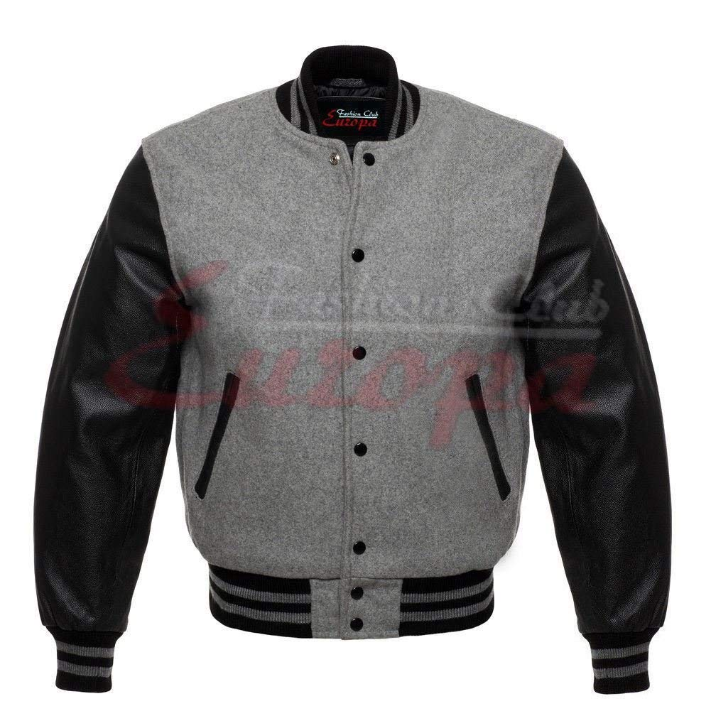 45450b72e430e Get Quotations · Fashion Club MEN S VARSITY REAL LEATHER WOOL LETTERMAN  JACKET GREY W BLACK LEATHER SLEEVES