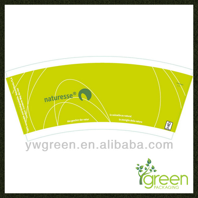 Green paper cup fan coated pe/paper fan making/fan blank paper