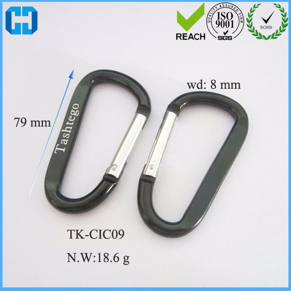 Flat D Shape Aluminum Type Hiking Clip Keychain Carabiner For Sale