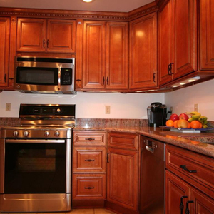 Affordable Red Timber Kitchen Cabinet For Home Use