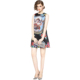 Angel Doll Printed Vintage Jacquard Sleeveless A-Line Dress Mid Skirt Women Casual Dresses