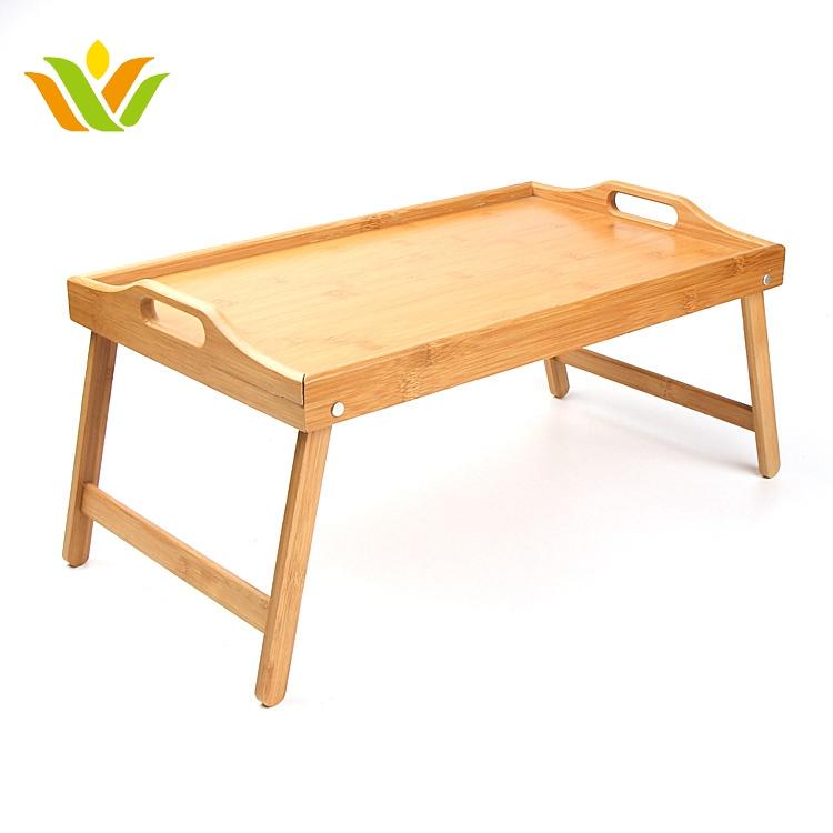Portable Bamboo Folding Leg Bed Laptop Wood Bamboo Folding Bed Tray