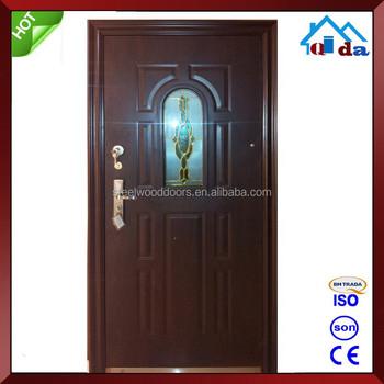 Steel Oval Glass Entry Door Designs