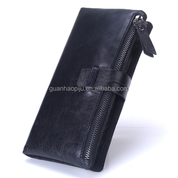 High Capacity Long Oil Waxed Leather With Insert Button For Men Wallet