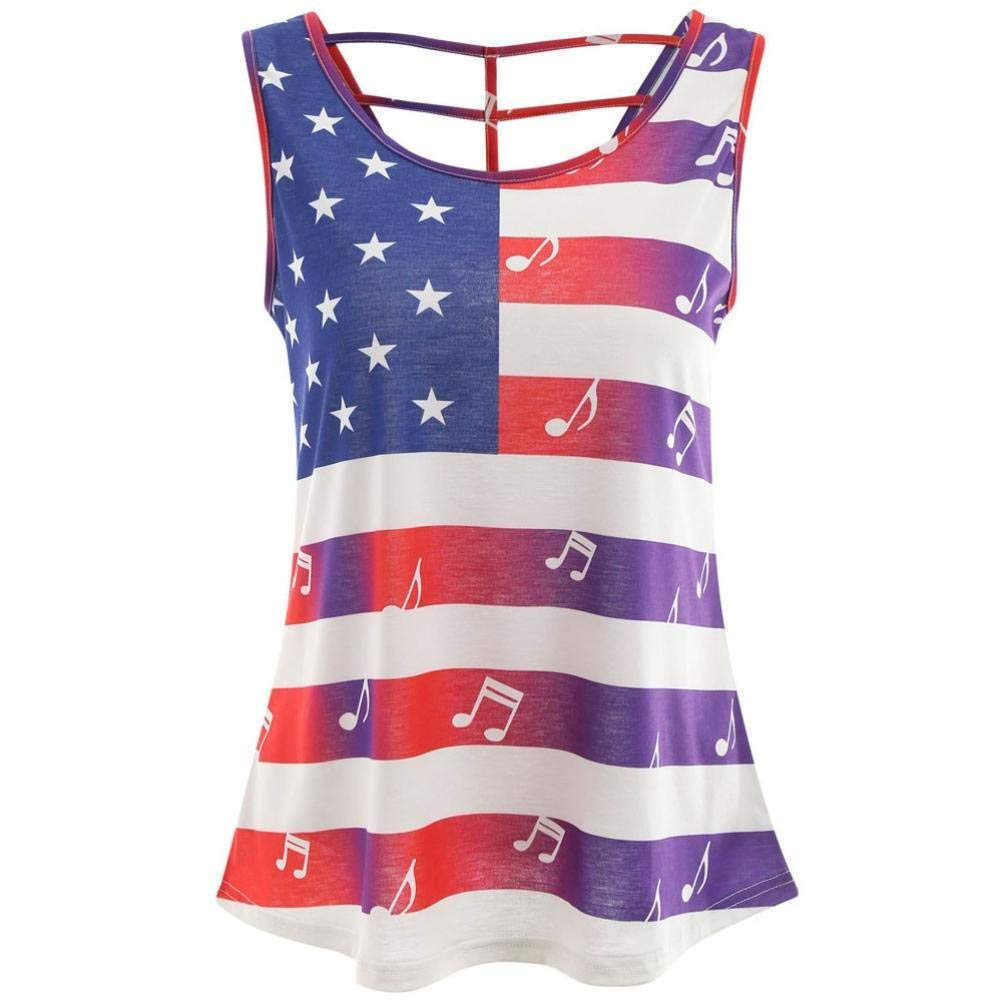 Backless Casual USA American Flag Tank Top for Women Juniors July 4th Party Racerback Loose Sleeveless Tops T-Shirt Blouse (M, Red)