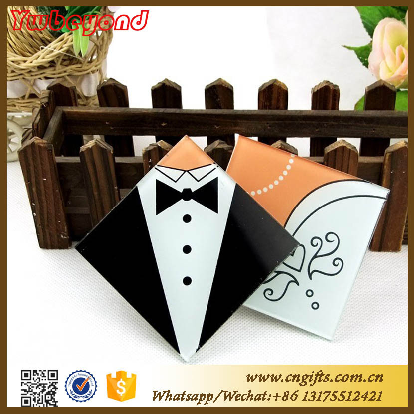Ywbeyond Indian Door Gifs Wedding Favors Square Shaped Table Cup Mat Pad Glass Coasters