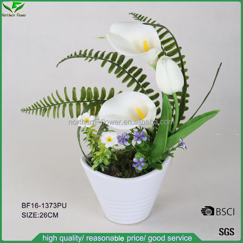 real touch white artificial flower arrangements with PU tulip and PU calla lily