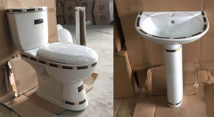 Complet close-coupled wc toilet for sri lanka