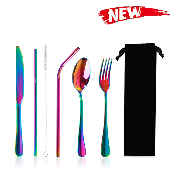 Stainless Steel 18/0 Flatware Set Reusable Cutlery Set Travel Utensils Set with Straws for Camping black color