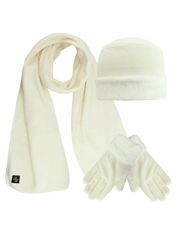 c13913eb356 Get Quotations · Fleece Hat Scarf   Glove Set With Plush Fur Trim