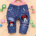 2016 Spring New denim with love mickey character print baby girls jeans pants B093