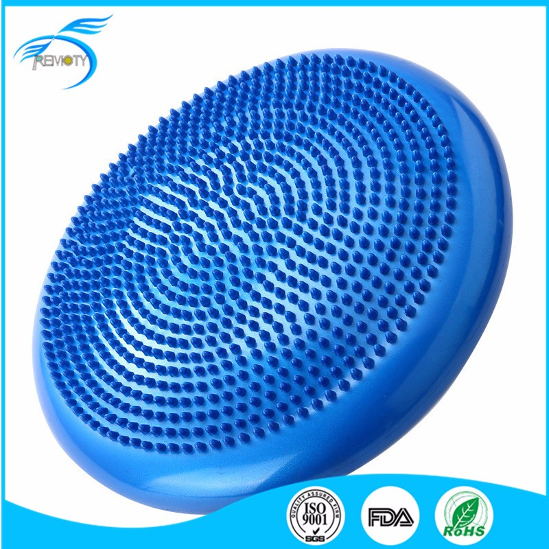 "Massage Cushion Yoga Fitness Blue Training Wobble Balance Disc 13"" Trainer Seat with pump"