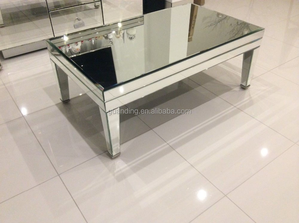 Simple Design Square Glass Furniture High Quality Mirrored Coffee Table