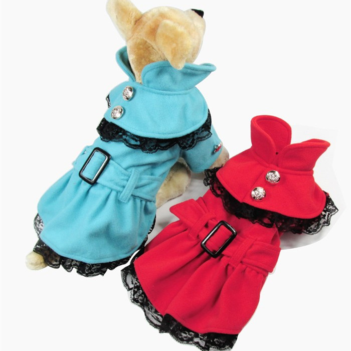 Hot Korea Winter Outdoor Wear Coat Pet Accessories Dog Clothes with lace