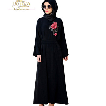 2017 Abaya Fashion Dubai Black Chiffon Abaya Rose Flower Embroidered