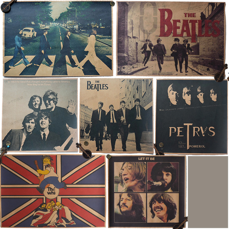 wholesale price # 7 pieces # The Beatles BANDS Vintage COOL  Retro poster print - HOME bar coffee house TOP Decor ART