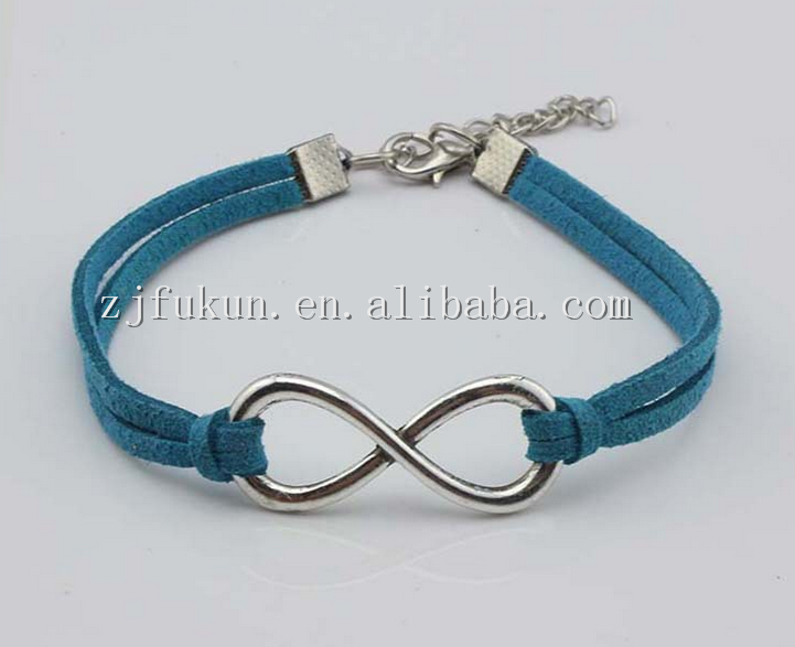 Fashion Silver Infinity Symbol Leather Rope Bracelet Handmade Colorful Ribbon