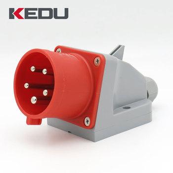 kedu ip44 3p n pe 32 amp 400v 6h industrial male wall mount plug and socket outlets buy wall. Black Bedroom Furniture Sets. Home Design Ideas