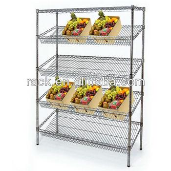 11l 5 Tiers Supermarket Slanted Metal Wire Food Display Rack Nsf Approval