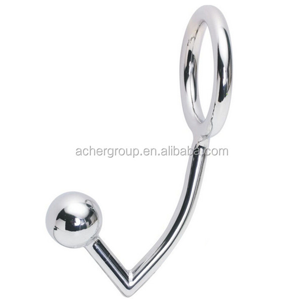 Stainless Steel Metal Hanger Hook 2 Ball Anal Cleek Bondage Hook With Ring