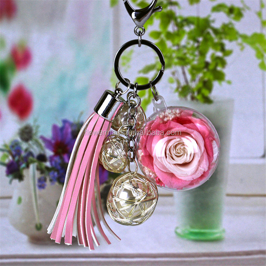 Fashionable A Variety of rose key ring key chain preserved <strong>flower</strong> real not Artificial rose DIY friend Birthday Chrismas gift