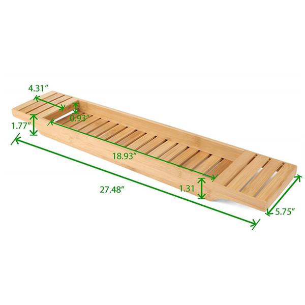 High quality natural bamboo bathtub caddy tray organizer 5