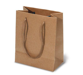 Natural Dark Brown Thick Strong Kraft Ping Bag With Pp Rope